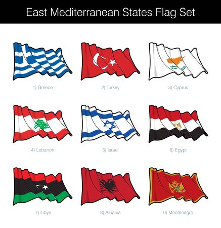 East Mediterranean States Waving Flag Set. The set includes the flags of Greece, Turkey, Cyprus, Lebanon, Israel, Egypt, Libya, Albania and Montenegro. Vector Icons all elements neatly on Layers