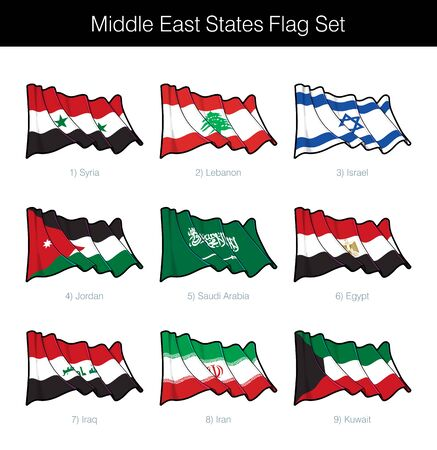 Middle East States Waving Flag Set. The set includes the flags of Syria, Lebanon, Israel, Jordan, Saudi Arabia, Egypt, Iraq, Iran and Kuwait. Vector Icons all elements neatly on Layers n Groups