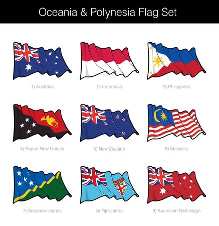 Oceania and Polynesia Waving Flag Set. The set includes the flags of Australia, Indonesia, Philippines, Papua New Guinea, New Zealand; Malaysia; Solomon and Fiji Islands. Vector Icons neatly on Layers