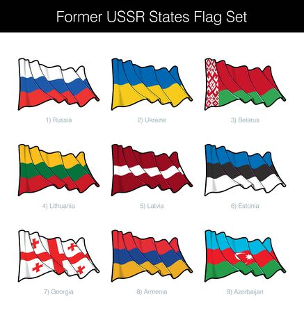 Former Soviet Union Waving Flag Set. The set includes the flags of Russia, Ukraine, Belarus, Lithuania, Latvia, Estonia, Georgia, Armenia and Azerbaijan. Vector Icons all elements neatly on Layers