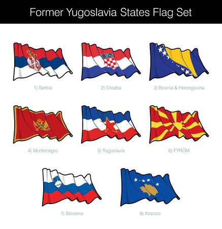 Former Yugoslavia States Waving Flag Set. The set includes the flags of Croatia, Serbia, Slovenia, FYROM, Montenegro, Bosnia Herzegovina and Kosovo. Vector Icons all elements neatly on Layers n Groups