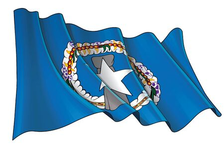 Vector illustration of a Waving Flag of Northern Mariana Islands. All elements neatly on well-defined layers and groups. Ilustração