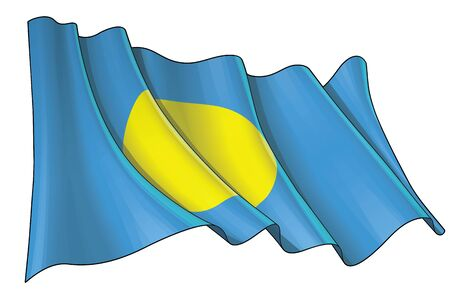 Vector illustration of a Waving Flag of Palau. All elements neatly on well-defined layers and groups.