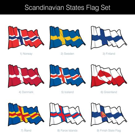Scandinavian States Waving Flag Set. The set includes the flags of Norway, Sweden, Finland, Denmark, Iceland, Greenland, Faroe Islands and Aland. Vector Icons all elements neatly on Layers n Groups Vectores