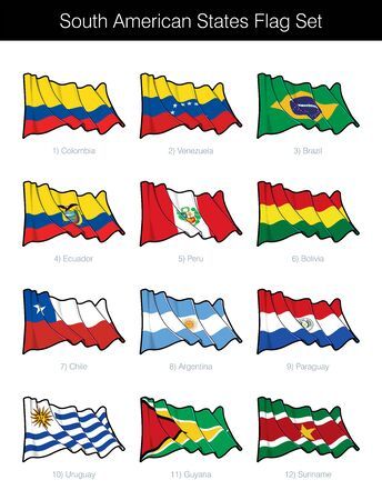 South American States Waving Flag Set. The set includes the flags of Argentina, Bolivia, Brazil, Chile, Ecuador, Guyana, Paraguay, Peru, Suriname, Uruguay and Venezuela. Vector Icons neatly on Layers Ilustração
