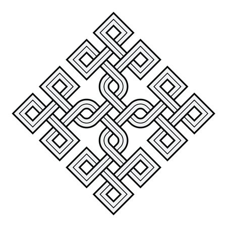 Vector Illustration of a Viking Nordic knot - mystic, decorative symbol with interweaved Golden Engraved lines. Lines, engraving and fill color neatly in separate well-defined Layers. Ilustração