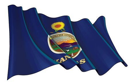 Vector illustration of a Waving Flag of the State of Kansas. All elements neatly on well-defined layers and groups.