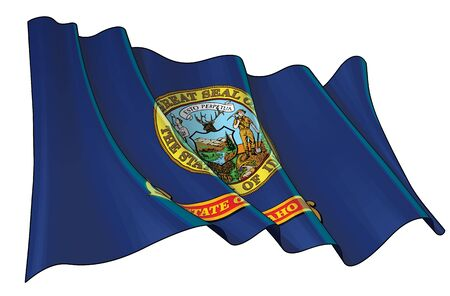 Vector illustration of a Waving Flag of the State of Idaho. All elements neatly on well-defined layers and groups.