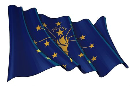 Vector illustration of a Waving Flag of the State of Indiana. All elements neatly on well-defined layers and groups.
