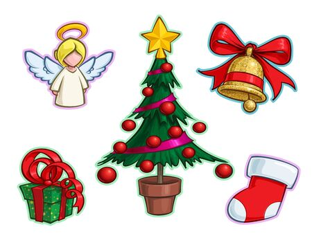 Vector Cartoon Icon set of an Angel, Christmas Tree, a red Ribbon Gift a Golden Glitter Bell and Stocking. Illustrations Lines, Color, Shadows and Lights neatly in well-defined layers & groups Ilustração
