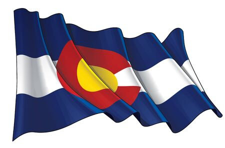 Vector illustration of a Waving Flag of the State of Colorado.  All elements neatly on well-defined layers and groups.
