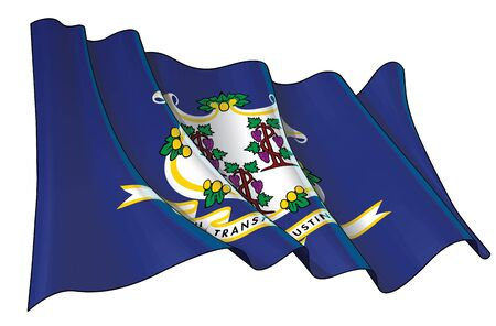Vector illustration of a Waving Flag of the State of Connecticut. All elements neatly on well-defined layers and groups.