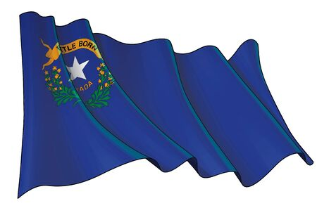 Vector illustration of a Waving Flag of the State of Nevada. All elements neatly on well-defined layers and groups.