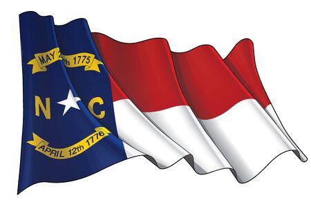 Vector illustration of a Waving Flag of the State of North Carolina. All elements neatly on well-defined layers and groups.