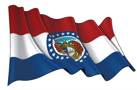 Vector illustration of a Waving Flag of the State of Missouri.  All elements neatly on well-defined layers and groups.