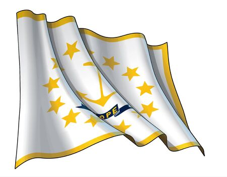 Vector illustration of a Waving Flag of the State of Rhode Island. All elements neatly on well-defined layers and groups.