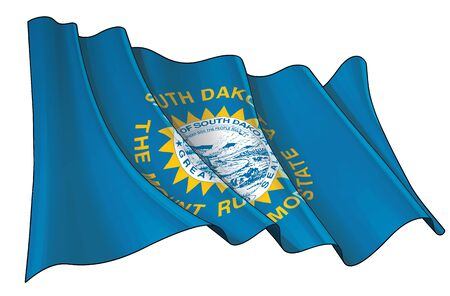 Vector illustration of a Waving Flag of the State of South Dakota. All elements neatly on well-defined layers and groups.