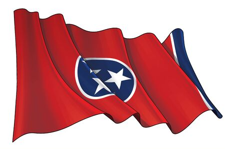 Vector illustration of a Waving Flag of the State of Tennessee. All elements neatly on well-defined layers and groups.