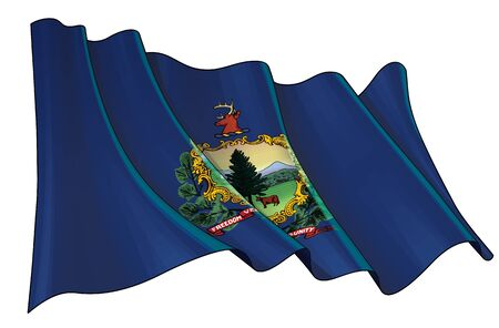 Vector illustration of a Waving Flag of the State of Vermont. All elements neatly on well-defined layers and groups.