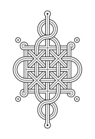 Vector Illustration of a Celtic knot - mystic, decorative symbol with intertwined Gold engraved lines. Lines, engraving and fill color neatly in separate well-defined Layers. 写真素材 - 150262680
