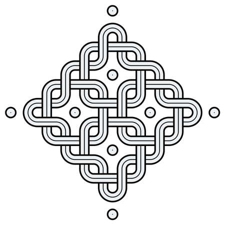 Vector Illustration of a Viking Nordic knot - mystic, decorative symbol with interweaved Golden Engraved lines. Lines, engraving and fill color neatly in separate well-defined Layers.