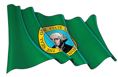 Vector illustration of a Waving Flag of Washington State. All elements neatly on well-defined layers and groups.