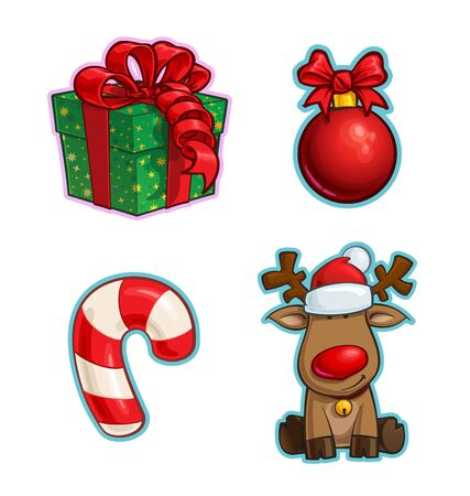 Vector Cartoon Icon set of a Red Ribbon Bow Gift, a Christmas Ball, a Candy Cane and a Red-Nose elk. Illustrations Lines, Color, Shadows and Lights neatly in well-defined layers & groups