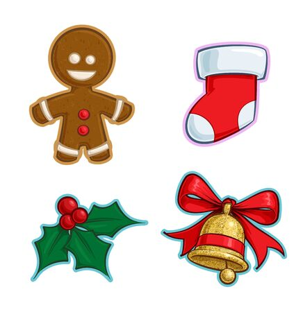 Vector Cartoon Icon set of a Gingerbread Man, a red Stocking, a Holly Mistletoe and a Gold Glitter Christmas Bell. Illustrations Lines, Color, Shadows and Lights neatly in well-defined layers & groups Ilustração