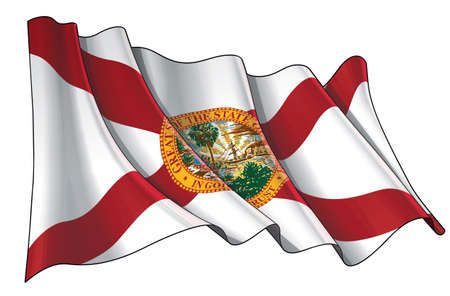 Vector illustration of a Waving Flag of the State of Florida. All elements neatly on well-defined layers and groups. Ilustração