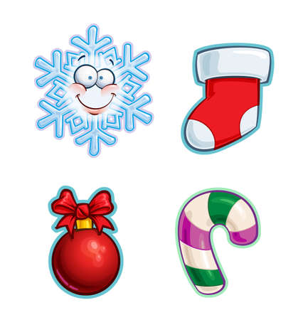 Vector Cartoon Icon set of a Snowflake emoji, a red Stocking, a Ribbon Bow Christmas Ball and a Candy Cane. Illustrations Lines, Color, Shadows and Lights neatly in well-defined layers & groups Ilustração