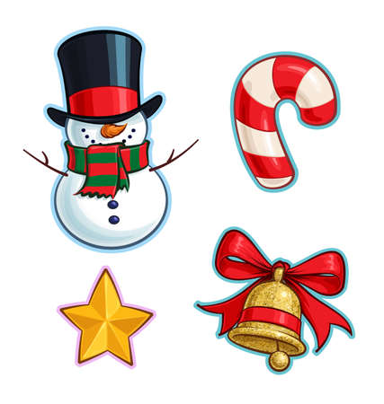 Vector Cartoon Icon set of a Snowman, a Red Candy Cane, a Golden Star and a Glitter Christmas Bell. Illustrations Lines, Color, Shadows and Lights neatly in well-defined layers & groups Ilustração