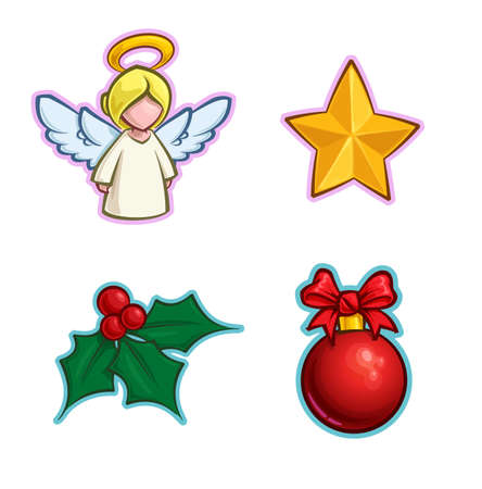 Vector Cartoon Icon set of an Angel, a Star, a Holly Mistletoe and a red Christmas Ball. Illustrations Lines, Color, Shadows and Lights neatly in well-defined layers & groups