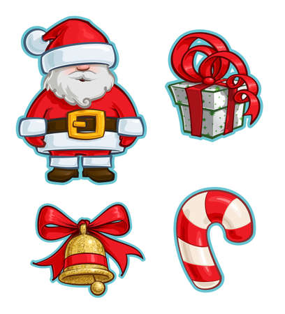 Vector Cartoon Icon set of Santa Claus, a Green Wrapped Red Ribbon Bow Gift, a Christmas Bell and a Candy Cane. Illustrations Lines, Color, Shadows and Lights neatly in well-defined layers & groups