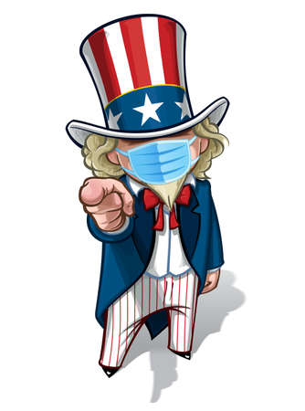 Vector illustrations of a cartoon Uncle Sam, pointing 'I Want You', wearing a surgical mask. All elements neatly in well defined layers n groups. Ilustração