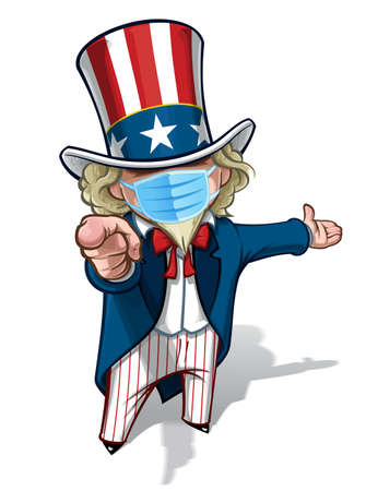 Vector illustrations of a cartoon Uncle Sam Pointing 'I Want You', presenting with open hand, wearing a surgical mask. All elements neatly in well defined layers n groups.