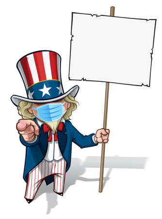 Vector illustrations of a cartoon Uncle Sam Pointing 'I Want You', holding a blank banner, wearing a surgical mask. All elements neatly in well defined layers n groups.