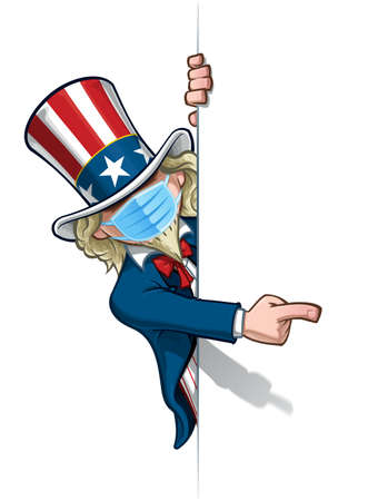 Vector illustrations of a cartoon Uncle Sam, pointing to a blank space, wearing a surgical mask. All elements neatly in well defined layers n groups.