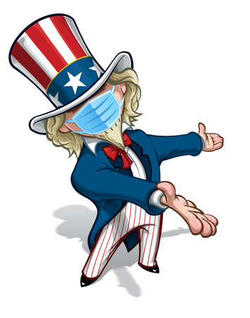 Vector illustrations of a cartoon Uncle Sam, presenting, wearing a surgical mask. All elements neatly in well defined layers n groups.