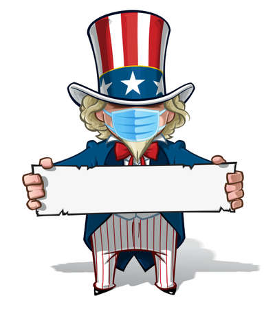 Vector illustrations of a cartoon Uncle Sam, holding a sign, wearing a surgical mask. All elements neatly in well defined layers n groups. Ilustração