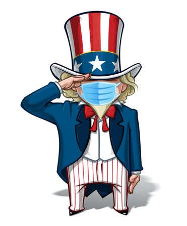 Vector illustrations of a cartoon Uncle Sam, Saluting, wearing a surgical mask. All elements neatly in well defined layers n groups.