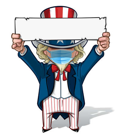 Vector illustrations of a cartoon Uncle Sam, holding up a sign, wearing a surgical mask. All elements neatly in well defined layers n groups. Ilustração