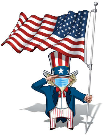 Vector illustrations of a cartoon Uncle Sam, Saluting, holding a waving American flag, wearing a surgical mask. All elements neatly in well defined layers n groups.