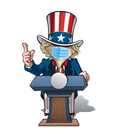 Vector illustrations of a cartoon Uncle Sam, on a podium with the index finger pointing up, wearing a surgical mask. All elements neatly in well defined layers n groups.