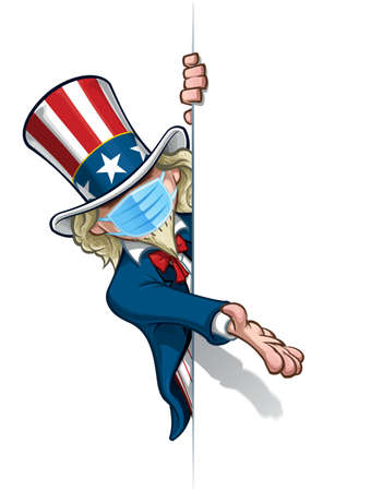 Vector illustrations of a cartoon Uncle Sam, presenting a blank space, wearing a surgical mask. All elements neatly in well defined layers n groups.