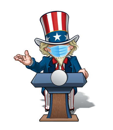 Vector illustrations of a cartoon Uncle Sam, on a podium debating with an open hand, wearing a surgical mask. All elements neatly in well defined layers n groups.