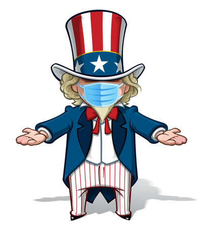 Vector illustrations of a cartoon Uncle Sam, debating with open arms, wearing a surgical mask. All elements neatly in well defined layers n groups. Ilustração