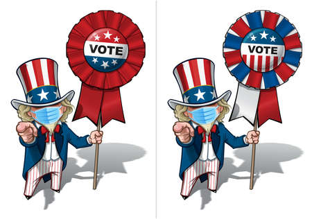 Vector illustrations of a cartoon Uncle Sam Pointing I Want You, holding a vote badge, wearing a surgical mask. All elements neatly in well defined layers n groups.