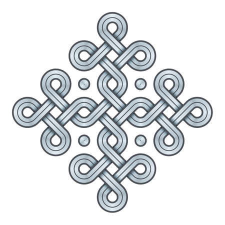 Vector Illustration of a Viking Nordic knot - mystic, decorative symbol with interweaved Silver Engraved lines. Lines, engraving and fill color neatly in separate well-defined Layers. Ilustração