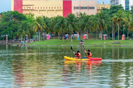 alam: Kayak on lake at, Shah Alam Malaysia