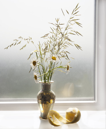 Bouquet of daisies on the window sill. Stock Photo